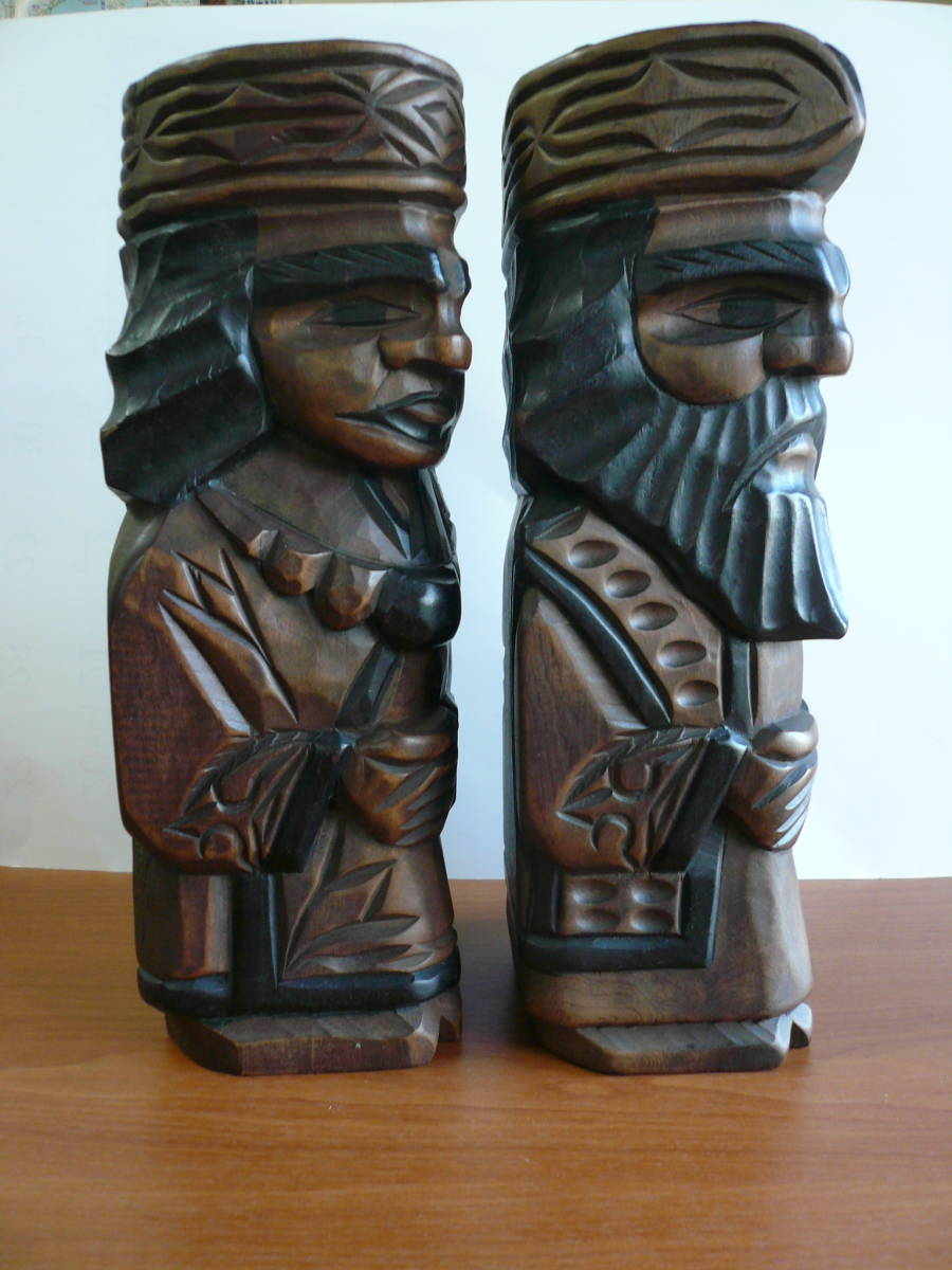 アイヌ人形 木彫り 夫婦 民芸品 お土産 置物 飾り物 レトロ _画像5