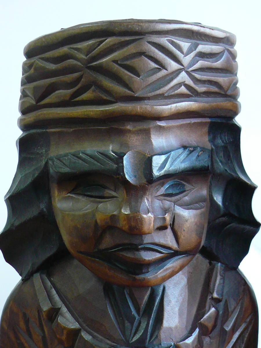 アイヌ人形 木彫り 夫婦 民芸品 お土産 置物 飾り物 レトロ _画像8