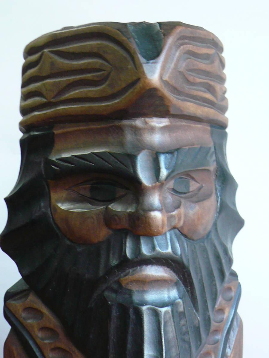 アイヌ人形 木彫り 夫婦 民芸品 お土産 置物 飾り物 レトロ _画像9