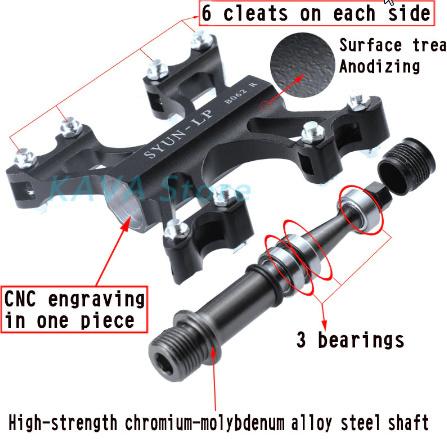 ペダル アルミ合金マウンテンバイクペダル Mtb ロードサイクリング 3 ベアリングペダル forUltra 自転車部品 k-1629_画像2