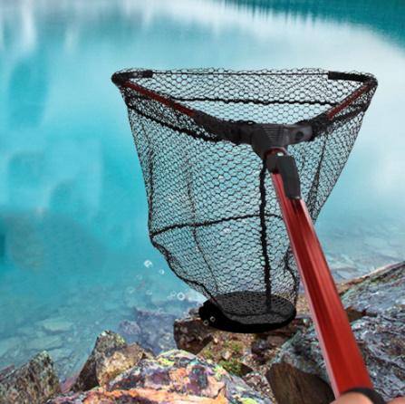 アルミ合金 80㎝ 格納式漁網伸縮式折りたたみためネット 磁極折りたたみランディングネット タモ k-1665_画像6