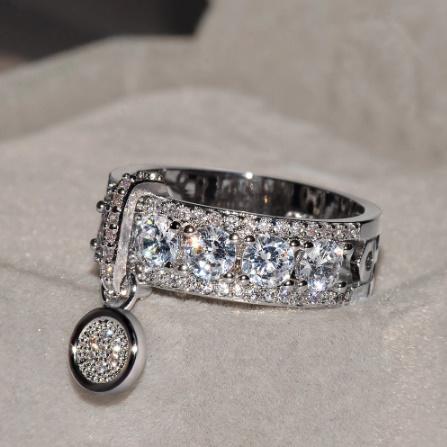 ヴィンテージローズゴールド 結婚指輪女性 ファッションジュエリーラグジュアリー ホワイトジルコン婚約指輪 k-1366_画像1