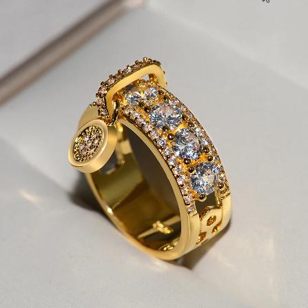 ヴィンテージローズゴールド 結婚指輪女性 ファッションジュエリーラグジュアリー ホワイトジルコン婚約指輪 k-1366_画像2