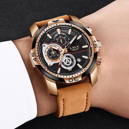メンズ 腕時計トップブランド 高級カジュアルレザークォーツ時計 男性スポーツ防水時計ゴールド時計 男性レロジオ Masculino k-1419_画像5