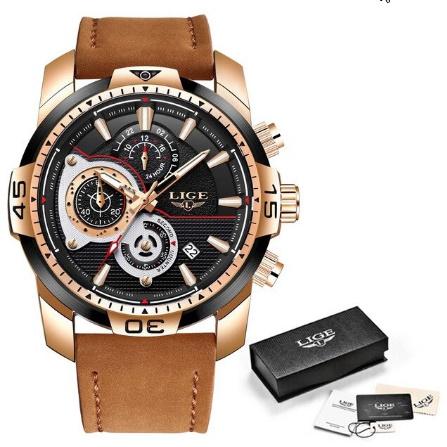 メンズ 腕時計トップブランド 高級カジュアルレザークォーツ時計 男性スポーツ防水時計ゴールド時計 男性レロジオ Masculino k-1419_画像9