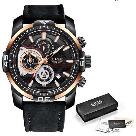 メンズ 腕時計トップブランド 高級カジュアルレザークォーツ時計 男性スポーツ防水時計ゴールド時計 男性レロジオ Masculino k-1419_画像7
