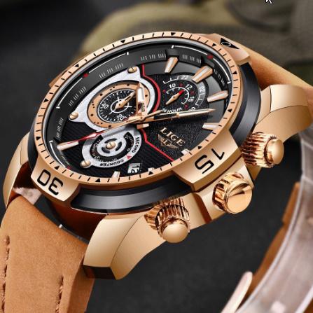 メンズ 腕時計トップブランド 高級カジュアルレザークォーツ時計 男性スポーツ防水時計ゴールド時計 男性レロジオ Masculino k-1419_画像1