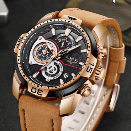 メンズ 腕時計トップブランド 高級カジュアルレザークォーツ時計 男性スポーツ防水時計ゴールド時計 男性レロジオ Masculino k-1419_画像2