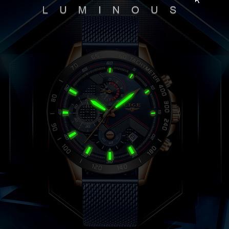 ファッションメンズ腕時計 トップブランド高級腕時計 クォーツ時計ブルー腕時計 防水スポーツクロノグラフレロジオ Masculino k-1428_画像3