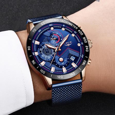 ファッションメンズ腕時計 トップブランド高級腕時計 クォーツ時計ブルー腕時計 防水スポーツクロノグラフレロジオ Masculino k-1428_画像4
