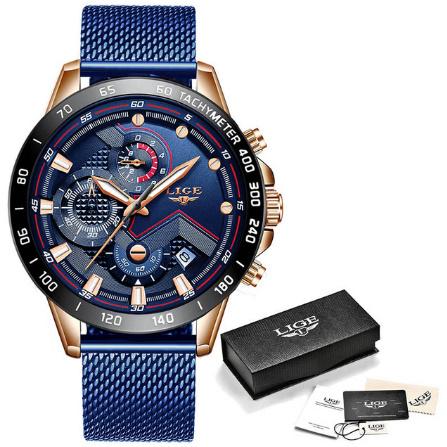 ファッションメンズ腕時計 トップブランド高級腕時計 クォーツ時計ブルー腕時計 防水スポーツクロノグラフレロジオ Masculino k-1428_画像7
