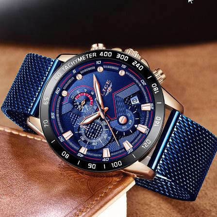 ファッションメンズ腕時計 トップブランド高級腕時計 クォーツ時計ブルー腕時計 防水スポーツクロノグラフレロジオ Masculino k-1428_画像2