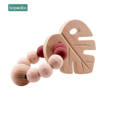 S1639  1 pc ベビーブナ葉ガラガラおもちゃのブレスレットおしゃぶりリングかぎ針木製ビーズ食品グレードのシリコーンおしゃぶりかむ_画像2