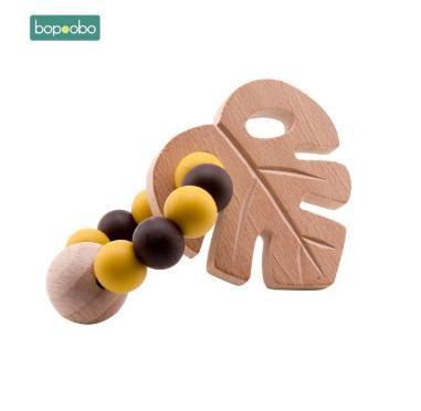 S1639  1 pc ベビーブナ葉ガラガラおもちゃのブレスレットおしゃぶりリングかぎ針木製ビーズ食品グレードのシリコーンおしゃぶりかむ_画像5