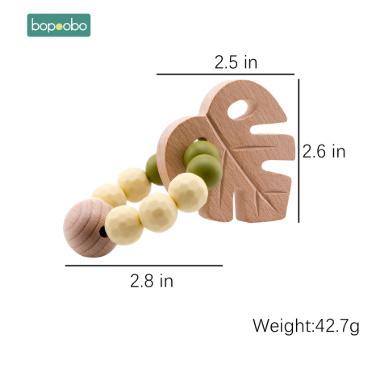 S1639  1 pc ベビーブナ葉ガラガラおもちゃのブレスレットおしゃぶりリングかぎ針木製ビーズ食品グレードのシリコーンおしゃぶりかむ_画像6