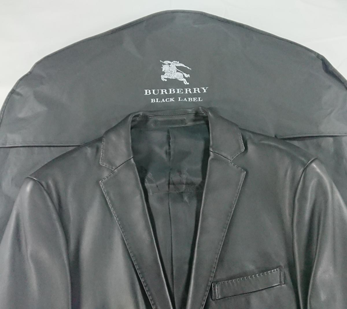 バーバリー ブラックレーベル ラムスキン レザー ジャケット L 美品 ブラック 羊革 BURBERRY BLACK LABEL