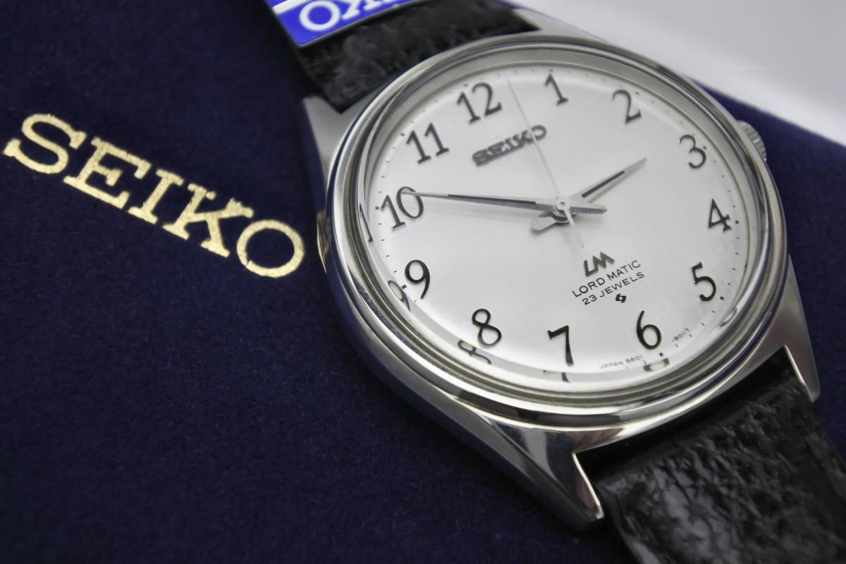 ☆☆☆デットストック 70年代高級機 セイコー SEIKO ロードマチック 23石 自動巻紳士腕時計 全数字 秒針停止機能付 ケース付_画像1