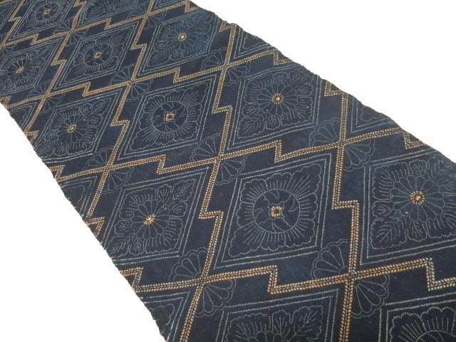★木綿の藍型染め 33×190cm★古布,布団,はぎれ,藍染め_画像2