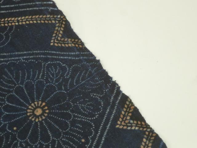 ★木綿の藍型染め 33×190cm★古布,布団,はぎれ,藍染め_画像4