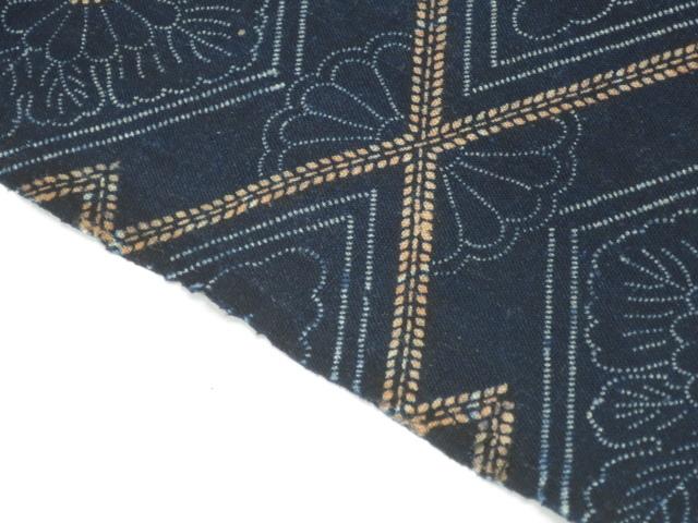 ★木綿の藍型染め 33×190cm★古布,布団,はぎれ,藍染め_画像5