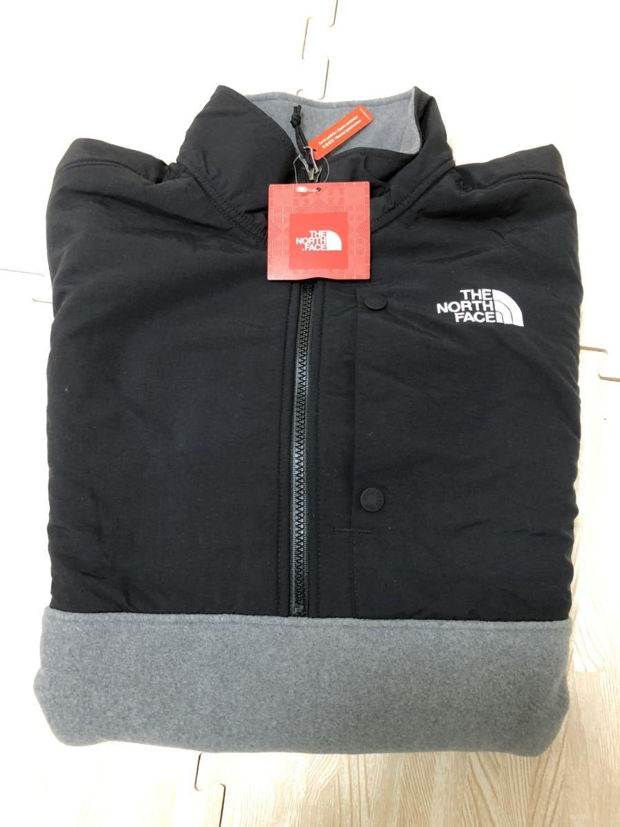 =THE NORTH FACE/ノースフェイス フリースジャケット 流行りのアノラック ブラックグレー Mサイズ 新品未使用品 登山やアウトドアに=