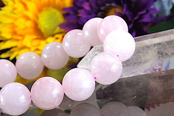 【送料無料】ローズ クォーツ《珠径14mm内径17cm》薔薇水晶 10月誕生石 パワーストーン天然石ブレスレット 恋愛運開運 浄化 激安7803_画像3