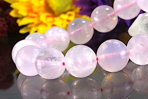 【送料無料】ローズ クォーツ《珠径14mm内径17cm》薔薇水晶 10月誕生石 パワーストーン天然石ブレスレット 恋愛運開運 浄化 激安7802_画像1