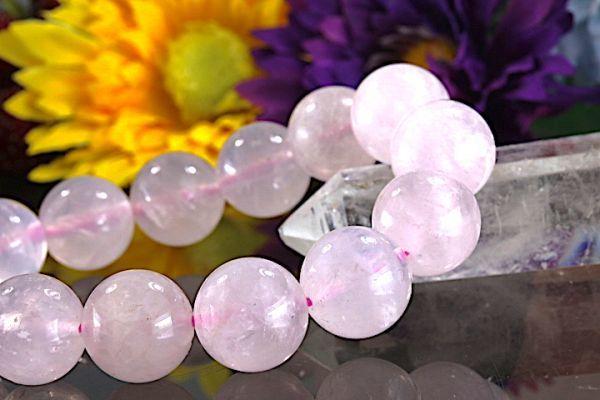 【送料無料】ローズ クォーツ《珠径14mm内径16.5cm》薔薇水晶 10月誕生石 パワーストーン天然石ブレスレット 恋愛運開運 浄化 激安7801_画像3
