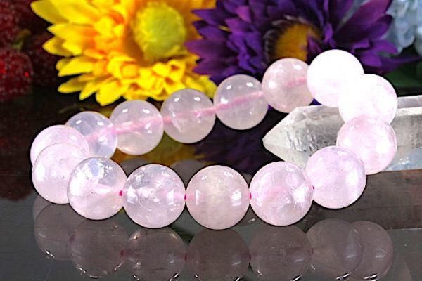 【送料無料】ローズ クォーツ《珠径14mm内径16.5cm》薔薇水晶 10月誕生石 パワーストーン天然石ブレスレット 恋愛運開運 浄化 激安7801_画像1