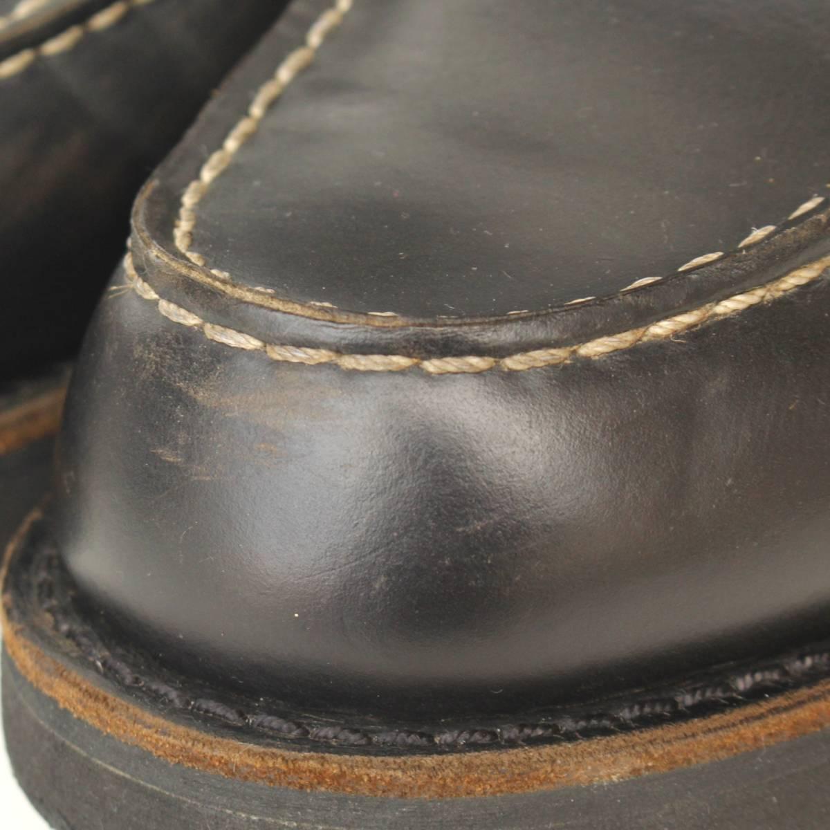 【SALE】良品98年製REDWING8137レッドウィング7D約25cm (オールブラック ビブラム製 黒ソール黒モックトゥ刺繍羽タグ1円スタートyk99006)_画像6