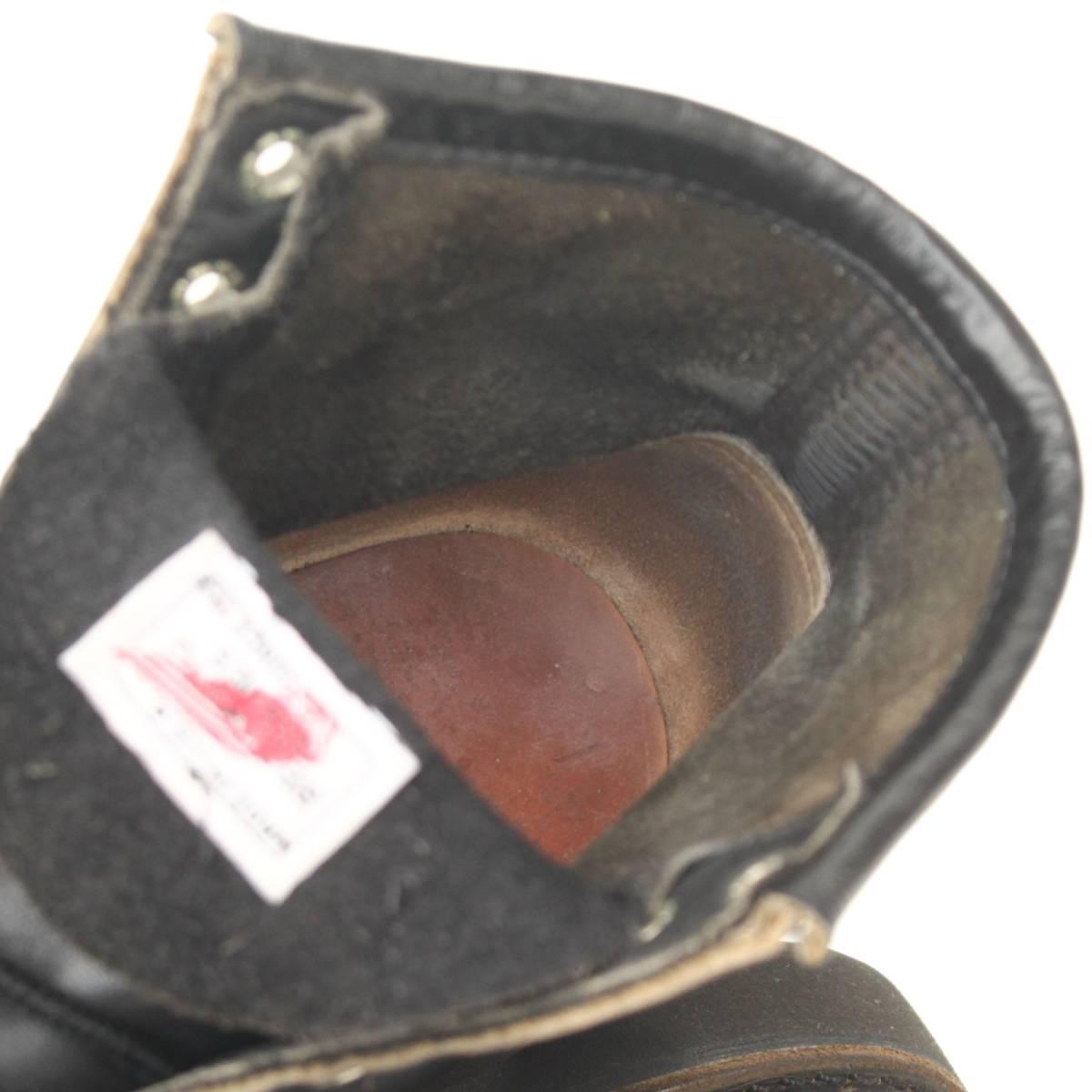 【SALE】良品98年製REDWING8137レッドウィング7D約25cm (オールブラック ビブラム製 黒ソール黒モックトゥ刺繍羽タグ1円スタートyk99006)_画像9