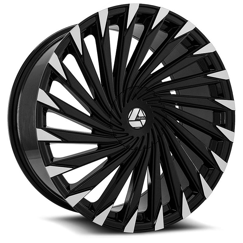 26インチ AZARA BY AMANI FORGED 501B ブラックマシンド ホイール 26X9.5+15mm~ 4本タイヤセット エスカレード、ナビゲーター 他_画像2