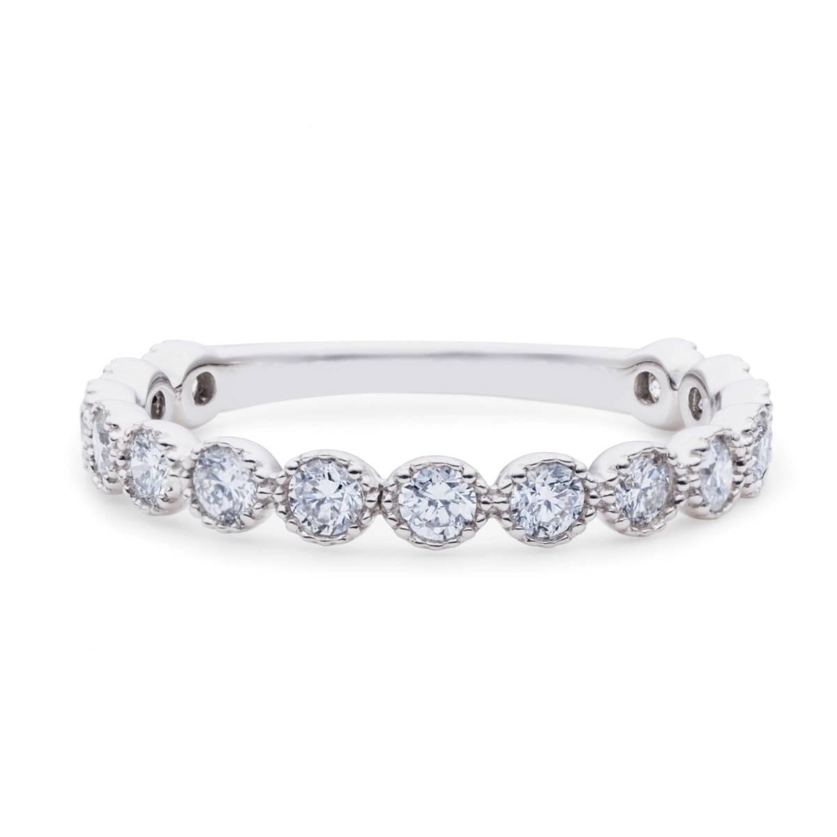 【size8号】ハード プラチナ pt900 天然diamond 0.53ct H&C 3/4 エタニティ リング【鑑別書付】_Excellent!素晴らしい輝きです!