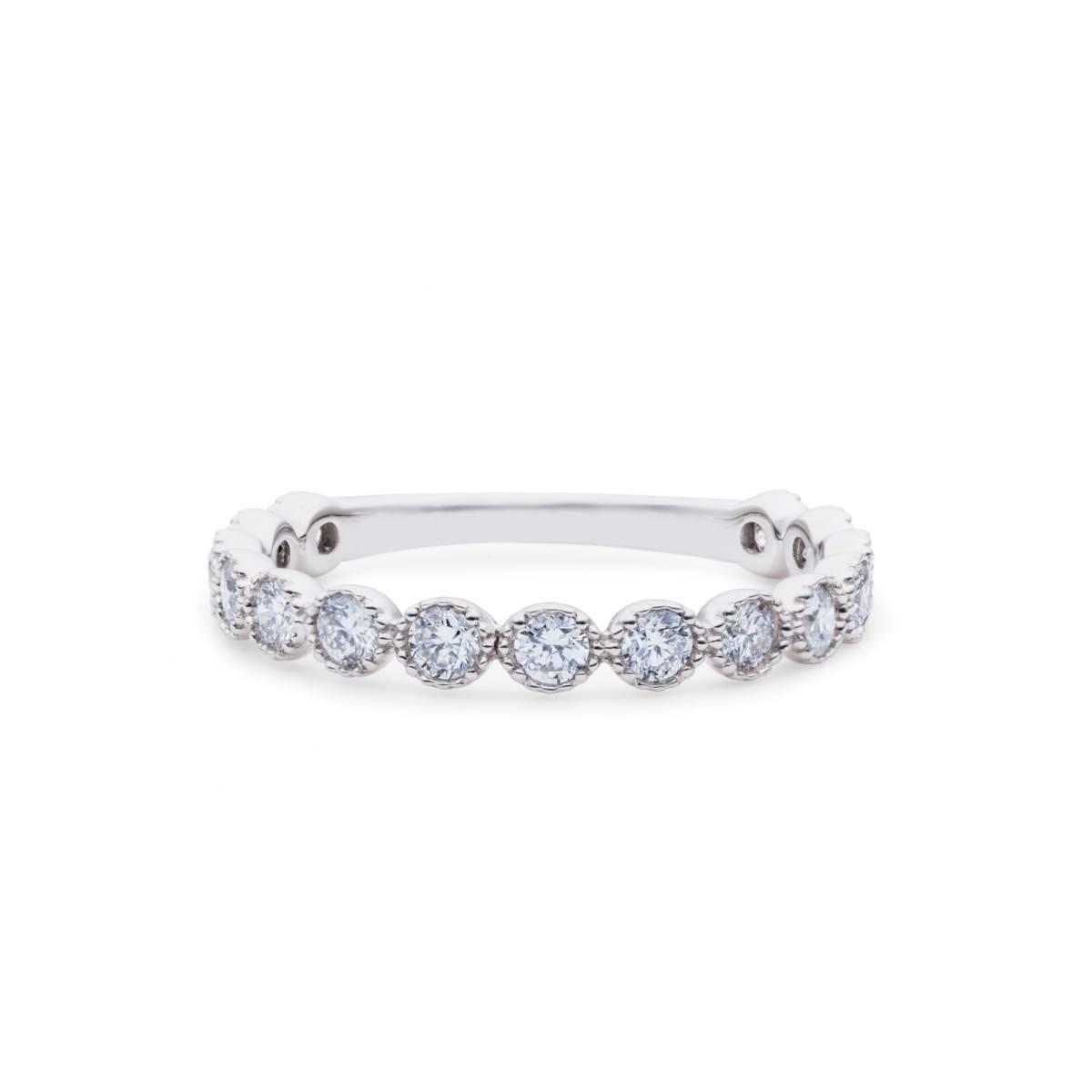 【size8号】ハード プラチナ pt900 天然diamond 0.53ct H&C 3/4 エタニティ リング【鑑別書付】_この最上級の輝きをお手元で・・・