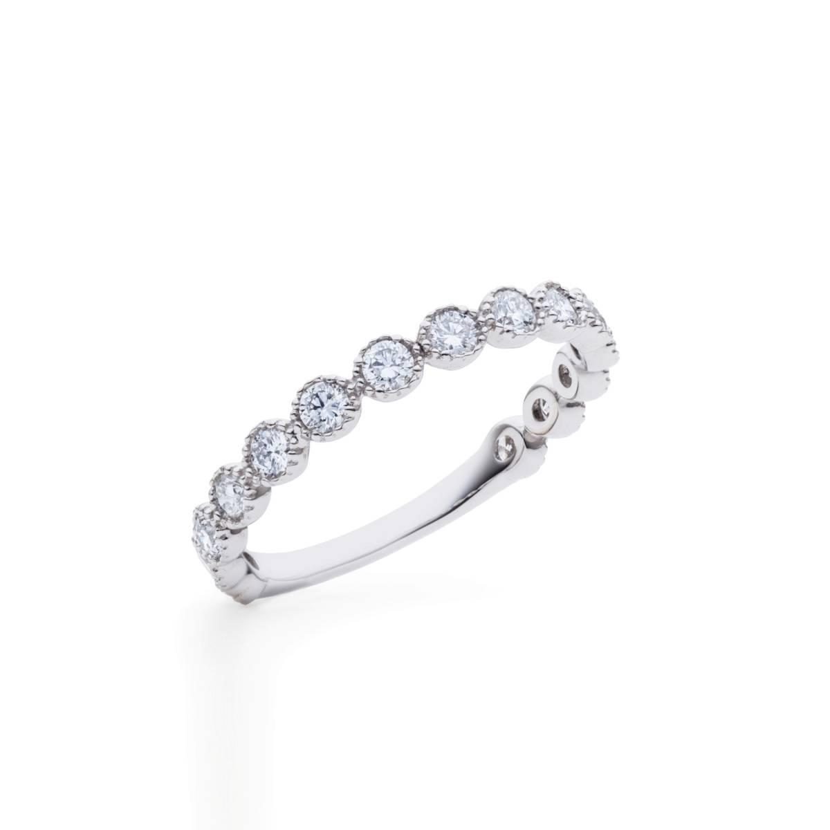 【size8号】ハード プラチナ pt900 天然diamond 0.53ct H&C 3/4 エタニティ リング【鑑別書付】_大変人気のあるデザインです!
