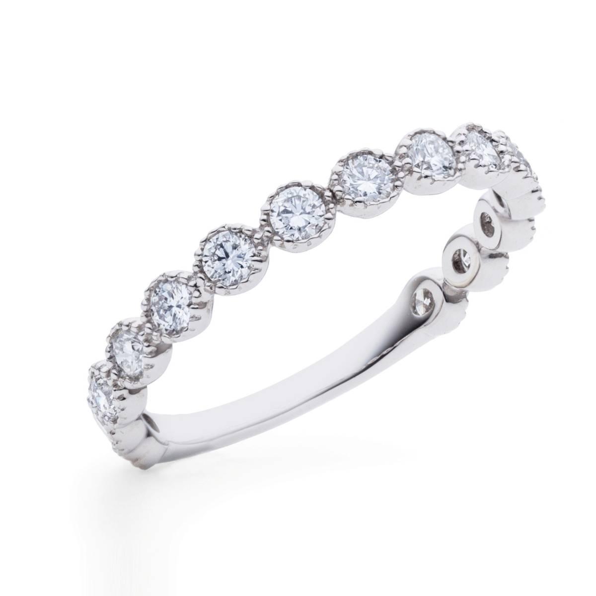 【size8号】ハード プラチナ pt900 天然diamond 0.53ct H&C 3/4 エタニティ リング【鑑別書付】_最上級H&Cダイヤモンドのエタニティリング