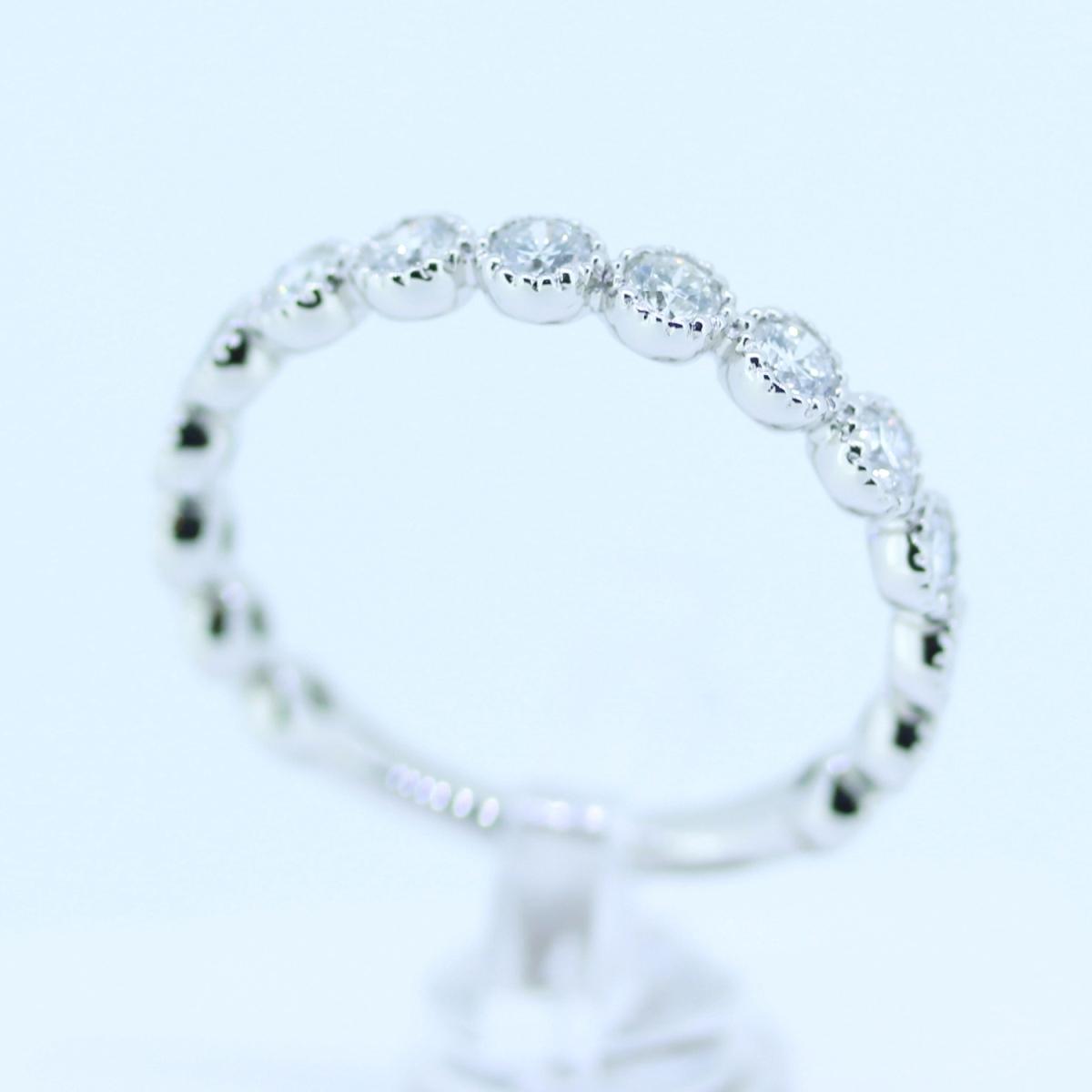 【size8号】ハード プラチナ pt900 天然diamond 0.53ct H&C 3/4 エタニティ リング【鑑別書付】_画像6