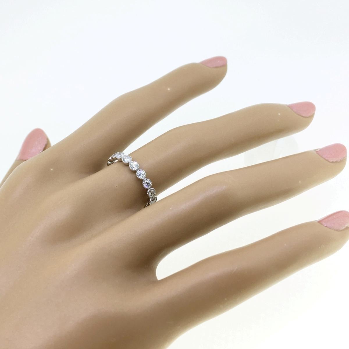 【size8号】ハード プラチナ pt900 天然diamond 0.53ct H&C 3/4 エタニティ リング【鑑別書付】_画像7