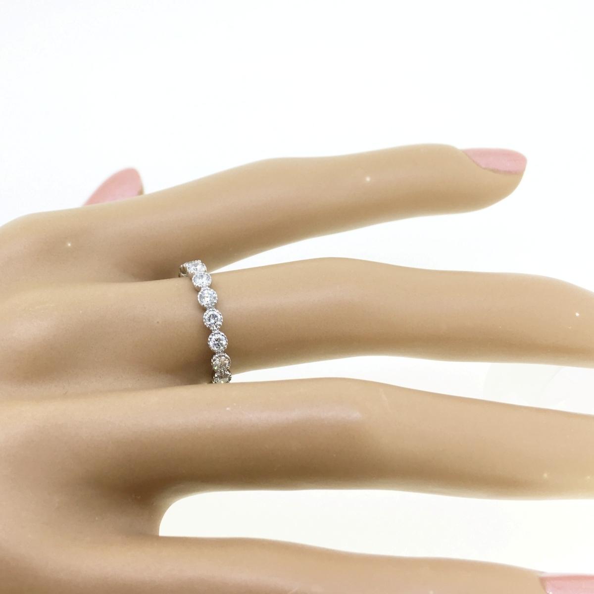 【size8号】ハード プラチナ pt900 天然diamond 0.53ct H&C 3/4 エタニティ リング【鑑別書付】_画像8