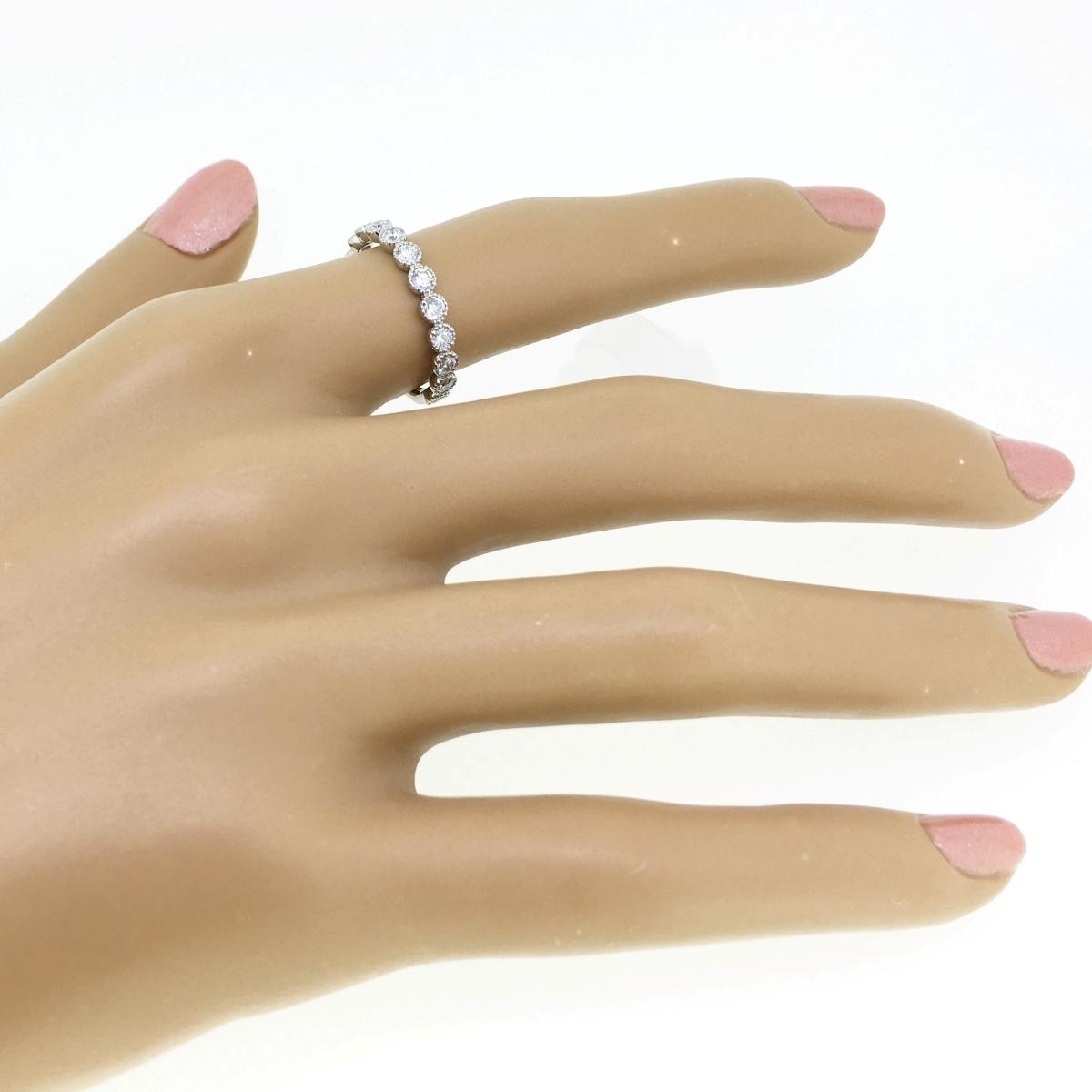 【size8号】ハード プラチナ pt900 天然diamond 0.53ct H&C 3/4 エタニティ リング【鑑別書付】_画像9
