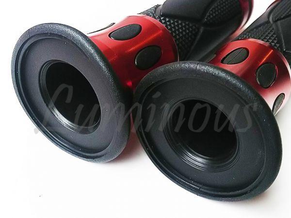 Dy アルミ ハンドル ラバー グリップ 22.2mm バーエンド 一体型 赤 エイプ50 エイプ100 XR50 XR100 NS-1 NSR50 NSR80 NS50F NSF100 汎用_画像5