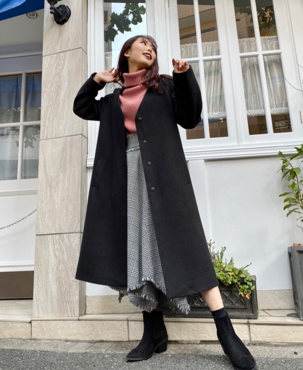 CECIL McBEE☆セシルマクビー新品☆ノーカラーコート☆定価以下送料込み☆ロングコート ブラック 最終値下げ