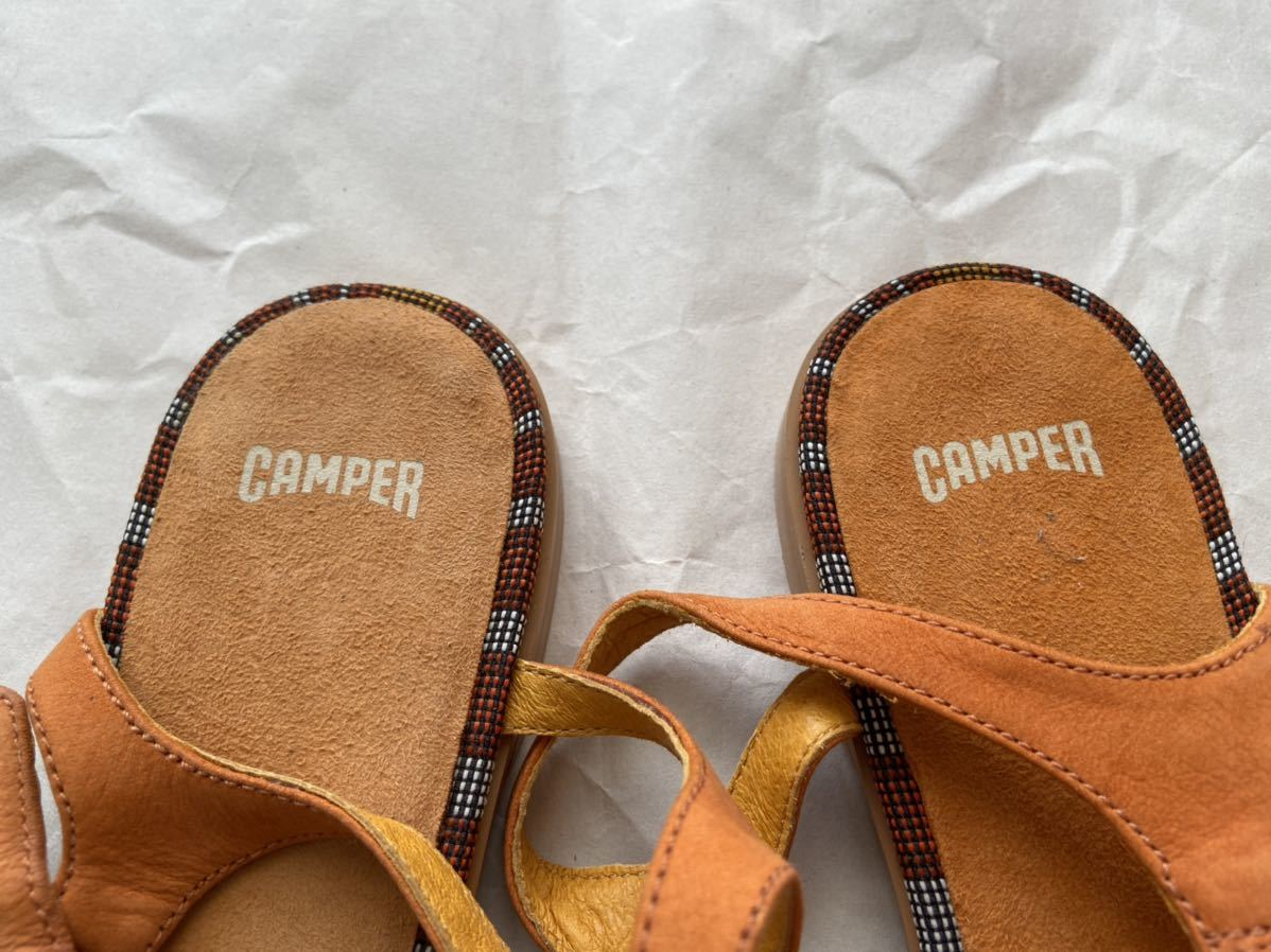 未使用:CAMPER カンペール バックストラップ フラットサンダル 本革 オレンジ ビタミンカラー 39 / 24.5cm~25cm_画像6