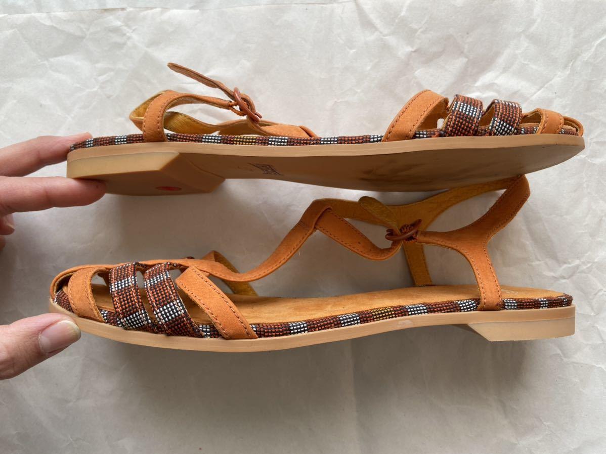 未使用:CAMPER カンペール バックストラップ フラットサンダル 本革 オレンジ ビタミンカラー 39 / 24.5cm~25cm_画像4