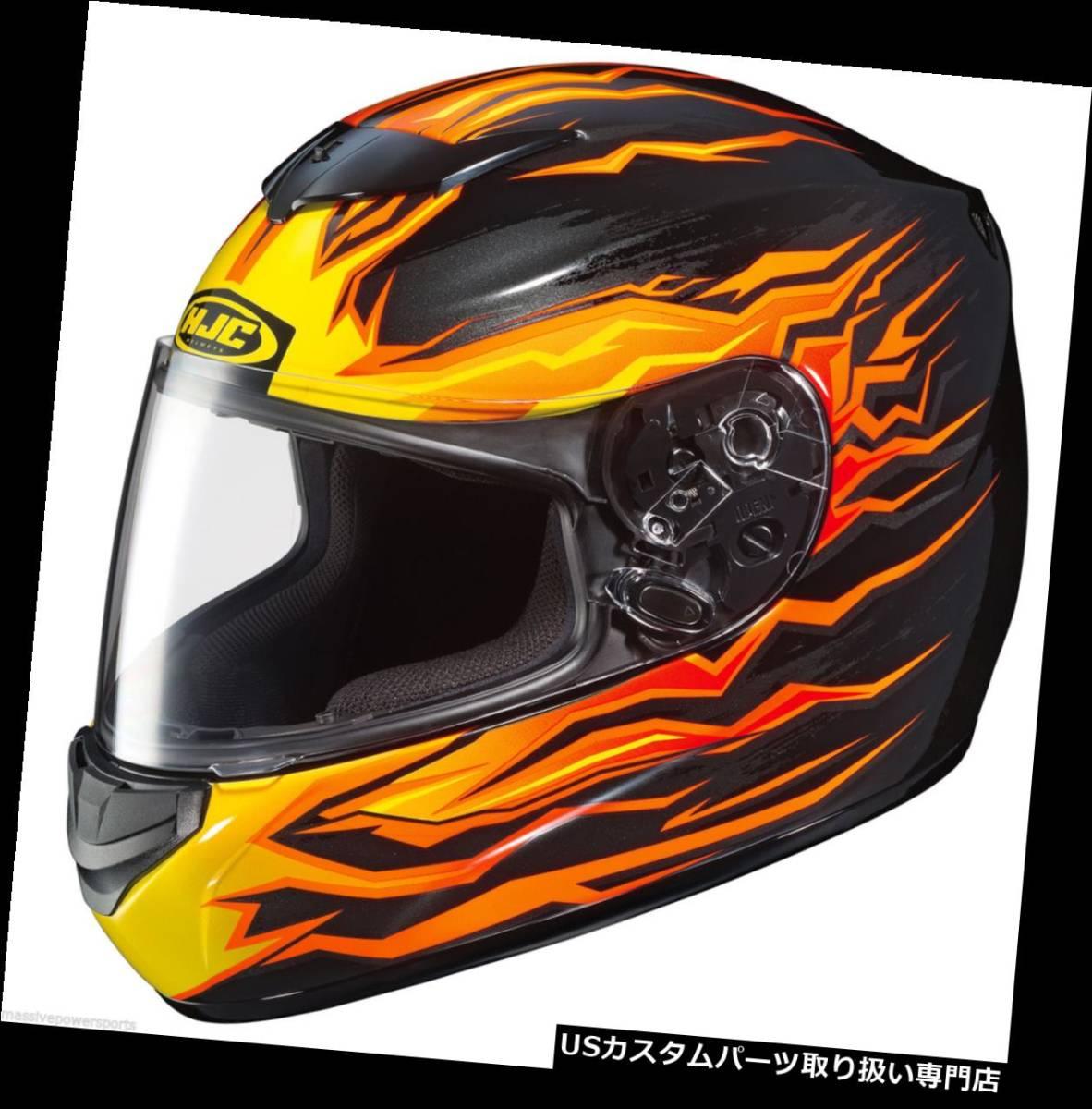 HJC CS-R2 Flame Motorcycle Helmet Black Orange L LG Large Full Face