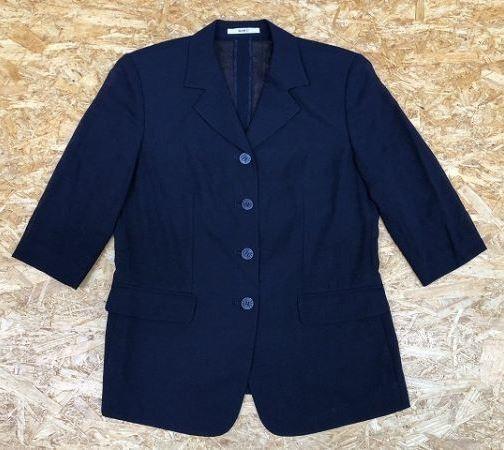 DAKS ダックス サイズ11AR レディース 薄手 テーラードジャケット 透け感アリ 肩パッド入り 半端袖 ウール100% ネイビー 紺_画像1
