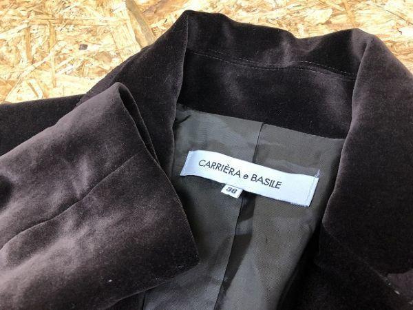 CARRIERA e BASILE カリエラエバジーレ 38 レディース テーラードジャケット 若干薄手 ベロア 肩パッド入り ポリ100% キュプラ裏地 茶系_画像2