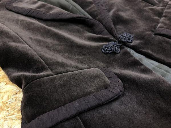 CARRIERA e BASILE カリエラエバジーレ 38 レディース テーラードジャケット 若干薄手 ベロア 肩パッド入り ポリ100% キュプラ裏地 茶系_画像3