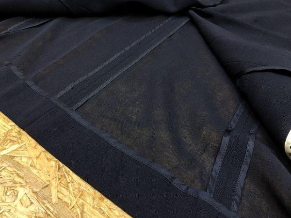 DAKS ダックス サイズ11AR レディース 薄手 テーラードジャケット 透け感アリ 肩パッド入り 半端袖 ウール100% ネイビー 紺_画像3