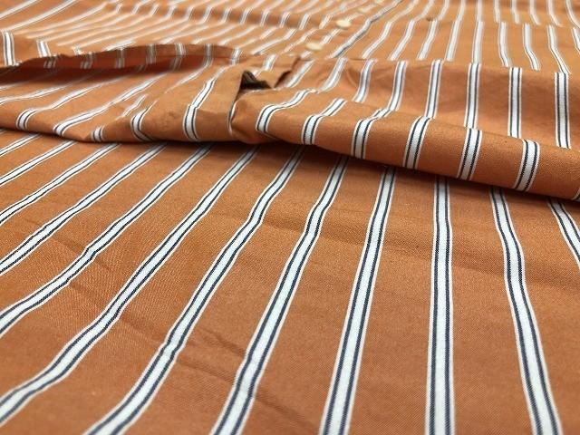 Eddie Bauer エディーバウアー Lサイズ メンズ インポート古着 シャツ 長袖 マルチストライプ 胸ポケット付き 綿100% オレンジ×白×青_画像6